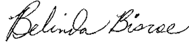 signature of Dr. Belinda Biscoe